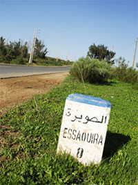Roadsign in Ghazoua  indicating the distance of 8 km to Essaouira