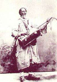 Gnaoua musician with his guembri