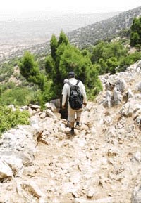Walking downhills  at Djebel Hadid