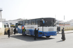 Bus to Safi leaving the bus station