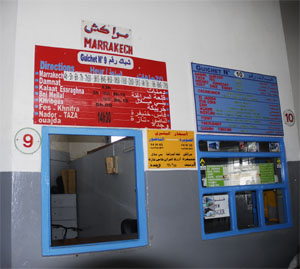 Tickets for busses to Marrakech in the busstation of Essaouira