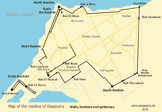 Map of the medina of Essaouira