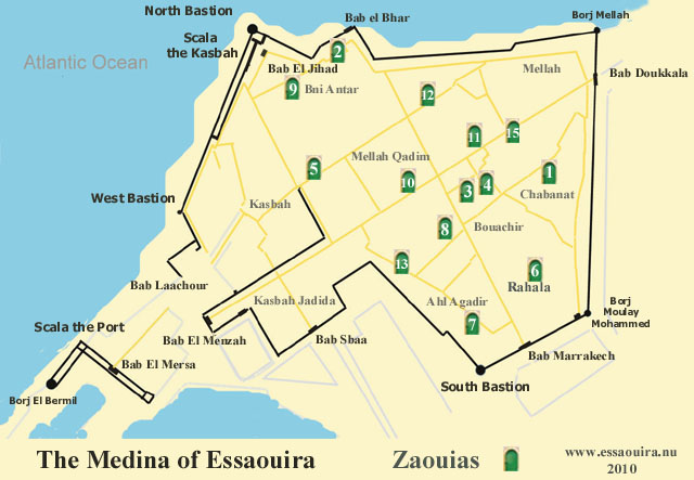 Map of Essaouira Median with the Zaouias