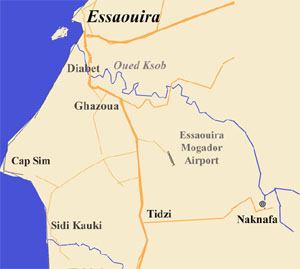 Map of Essaouira region Tidzi Naknafa