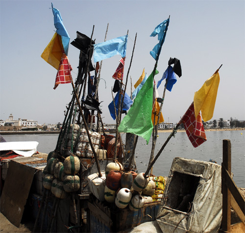 Flags of colors The fishing port