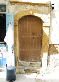 A brown door
