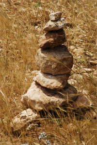 Piled stones at the countryside